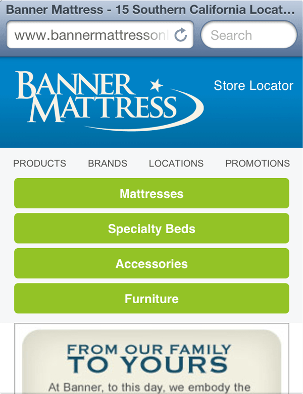 Banner Mattress mobile website design Tony Price